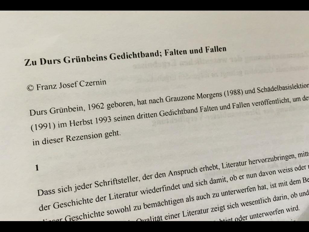 Christina Rossi / Czernin vs. Grünbein (1995) = Schiller vs. Bürger (1791)
