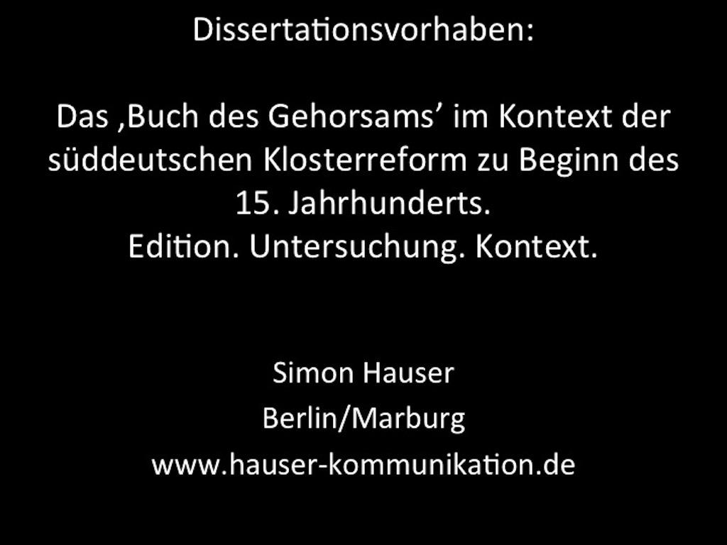 Simon Hauser / Das Buch des Gehorsams